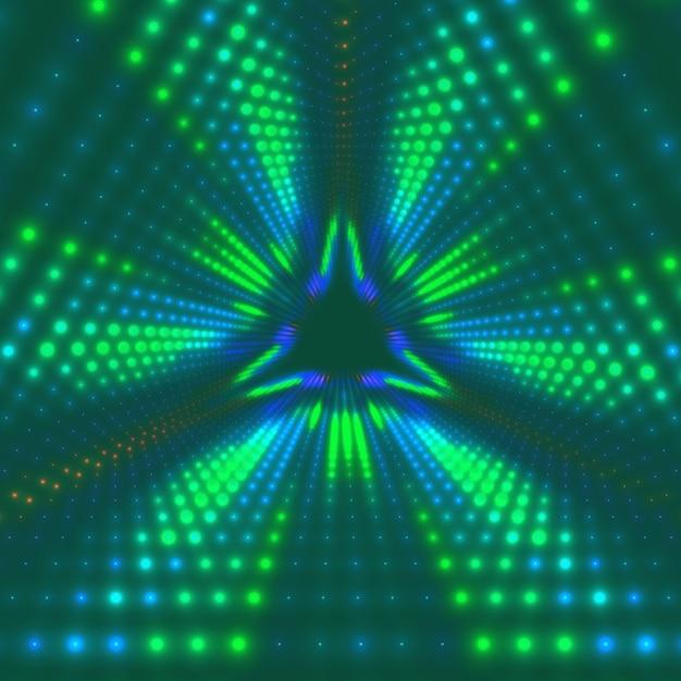 Tunnel triangolare infinito di vettore di brillanti razzi sullo sfondo. i punti luminosi formano settori del tunnel. Vettore gratuito