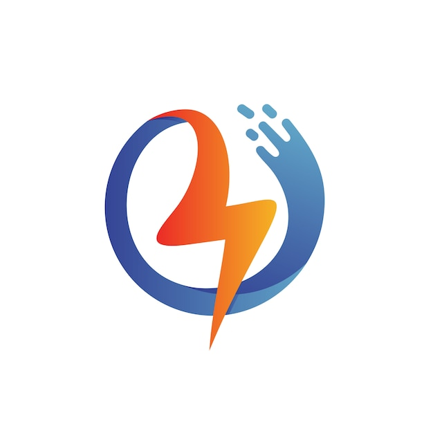 Tuono con logo a forma di onda Vettore Premium