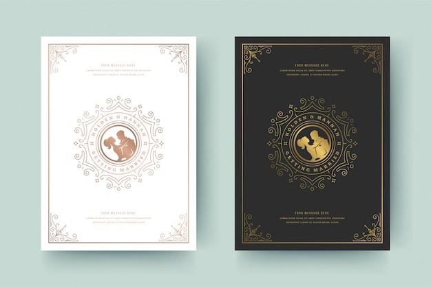 Turbinii dorati di vignette degli ornamenti di flourishes del modello della carta dell'invito di nozze. cornice e decorazioni vittoriane d'epoca. Vettore Premium