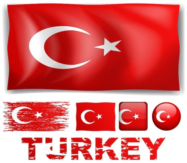 Turchia bandiera in diversi disegni illustrazione Vettore gratuito