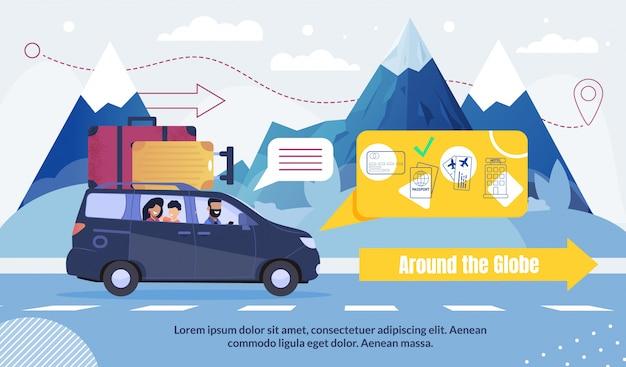 Turismo e viaggi in tutto il mondo pubblicità Vettore Premium