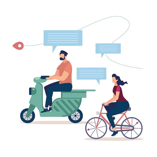 Turismo in bicicletta, viaggiando sul concetto di scooter Vettore gratuito
