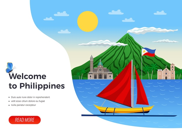 Turismo sulla barca a vela delle filippine nella pagina di atterraggio del mare blu Vettore gratuito