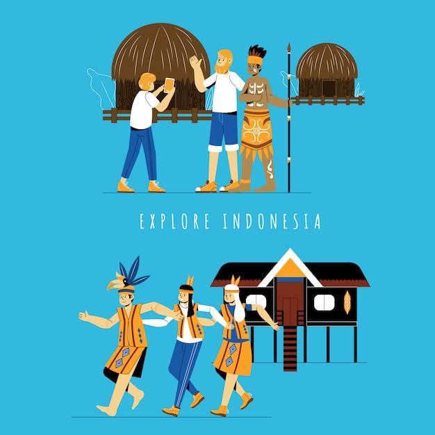 Turista che esplora posto etnico in indonesia Vettore Premium