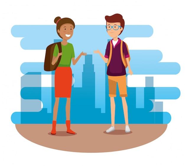 Turista della donna e dell'uomo con lo zaino da viaggiare Vettore gratuito