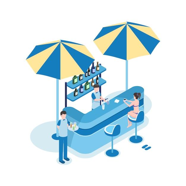 Turista femminile nell'illustrazione isometrica di vettore della barra della spiaggia. donna, barista e cameriere personaggi dei cartoni animati 3d. Vettore Premium