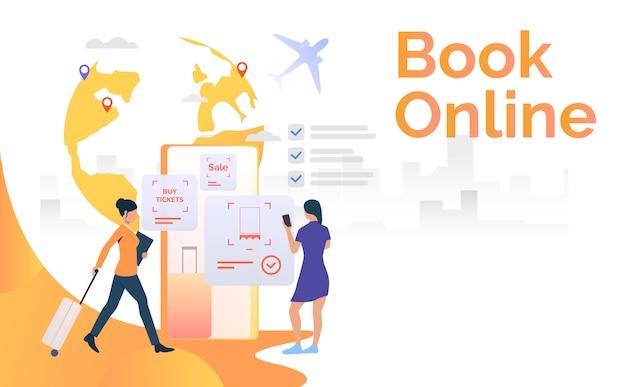 Turiste che utilizzano il telefono cellulare e prenotano il biglietto aereo Vettore gratuito