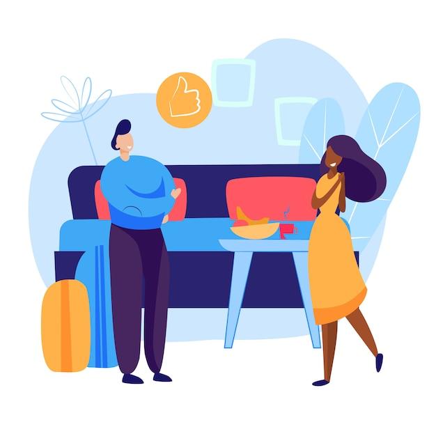 Turisti che effettuano il check-in nella camera d'albergo Vettore gratuito