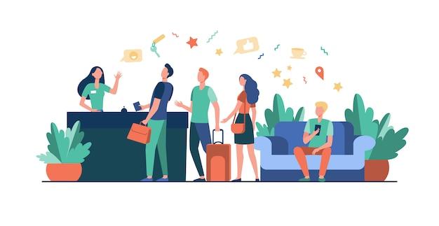 Turisti con borse check-in in hotel Vettore gratuito