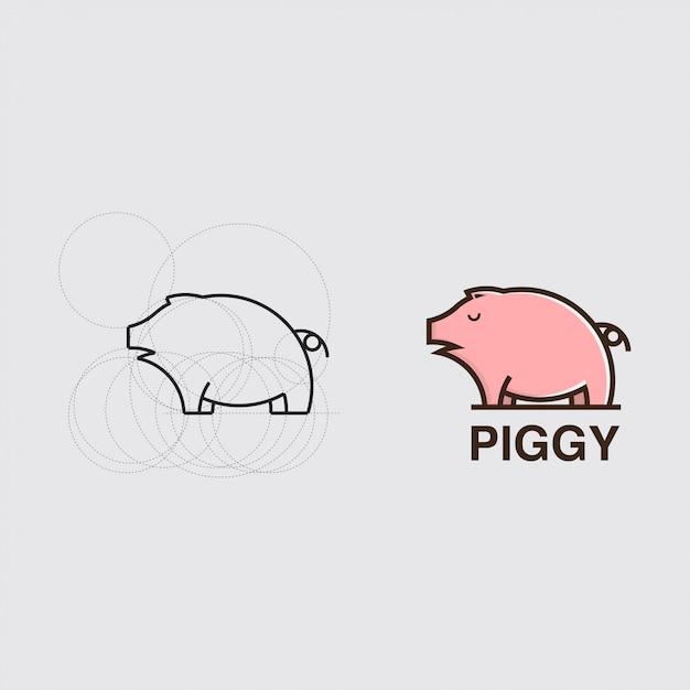 Tutorial che disegna un maiale con una combinazione di cerchi logo Vettore Premium