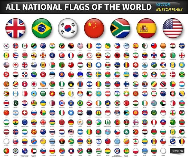 Tutte le bandiere nazionali del mondo. cerchio design convesso pulsante. vettore di elementi Vettore Premium