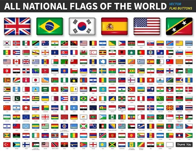 Tutte le bandiere nazionali del mondo Vettore Premium
