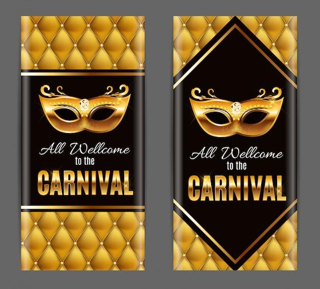 Tutti benvenuti al carnevale, evento popolare in brasile. design con maschera per feste. concetto di travestimento. Vettore Premium