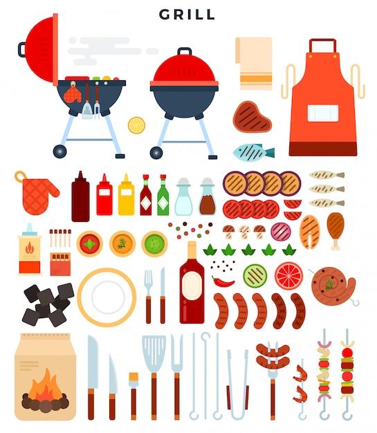Tutto per la griglia, una grande serie di elementi. diversi strumenti speciali e cibo per la grigliata. Vettore Premium
