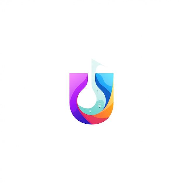U logo design dell'acqua Vettore Premium