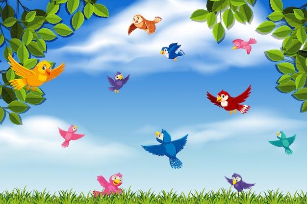 Uccelli colorati nella scena della giungla Vettore Premium