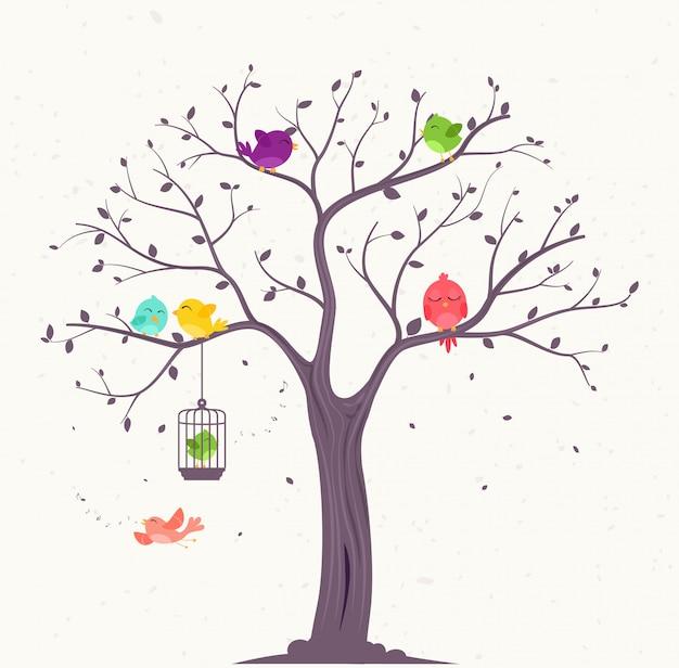 Uccelli colorati su bellissimi alberi Vettore Premium