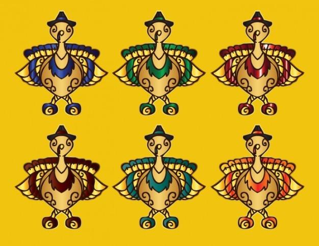 Uccelli decorativi cartone animato in vari colori