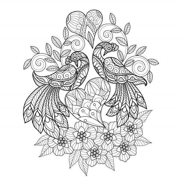 Uccelli innamorati zen doodle, pagina da colorare Vettore Premium