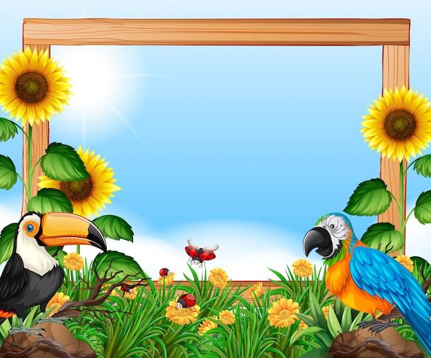 Uccelli sulla cornice in legno della natura Vettore Premium