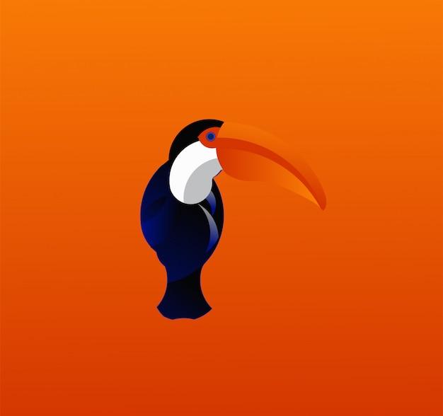 Uccelli tropicali toucan sfondo arancione Vettore Premium