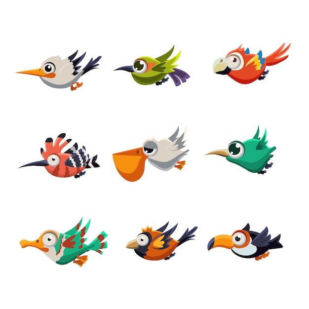 Uccelli volanti variopinti nell'insieme dell'illustrazione di profilo Vettore Premium