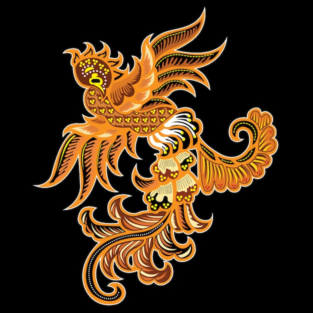 Uccello batik Vettore Premium