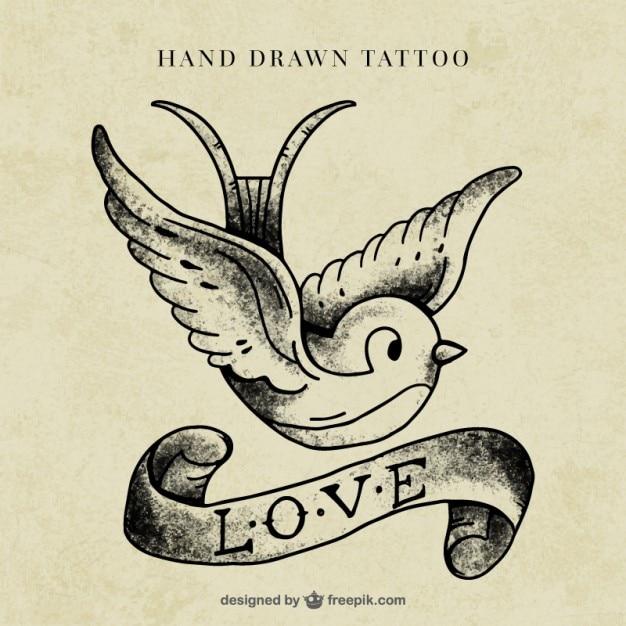 Uccello con un tatuaggio nastro Vettore gratuito
