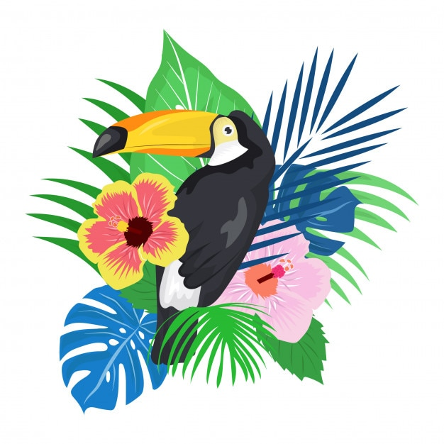 Uccello del pappagallo con la priorità bassa della pianta tropicale Vettore Premium