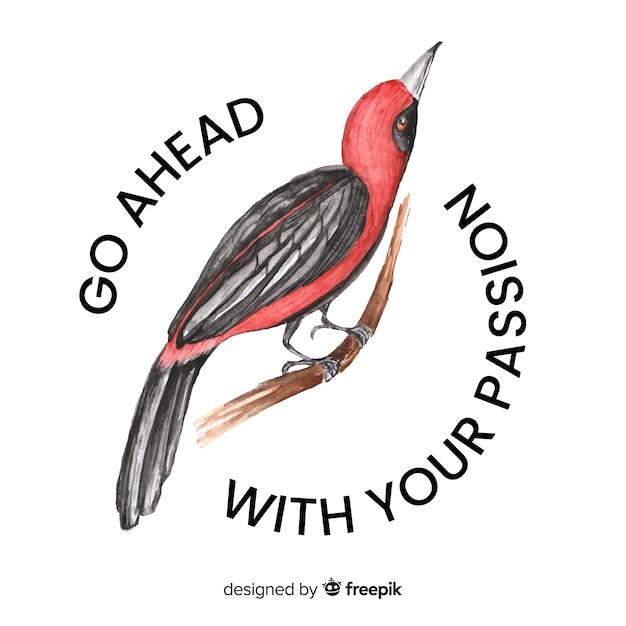 Uccello disegnato a mano con sfondo di parola Vettore gratuito