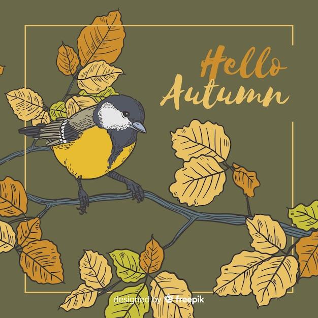 Uccello disegnato a mano sfondo autunnale Vettore gratuito