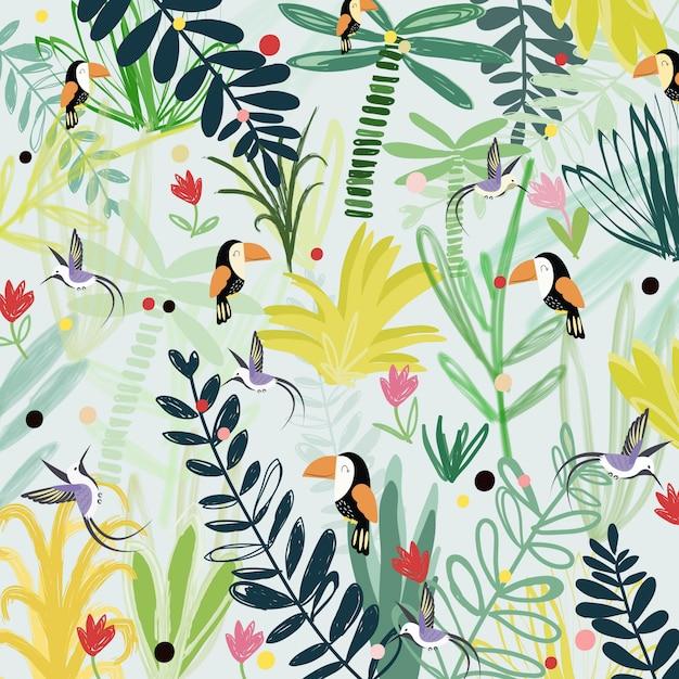 Uccello sveglio nell'illustrazione del fumetto della foresta di fantasia Vettore Premium