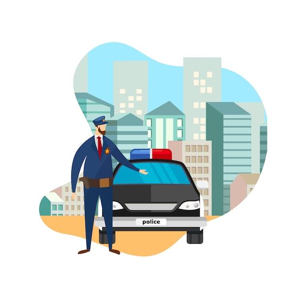 Ufficiale di polizia di vista frontale che sta all'automobile funzionante. Vettore Premium