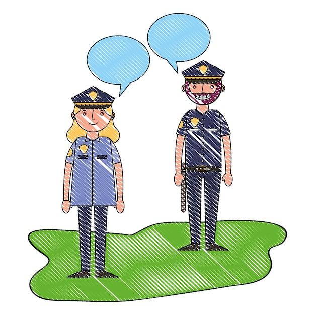 Ufficiale di polizia donna e uomo parlando Vettore Premium