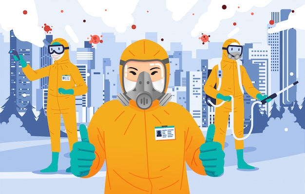 Ufficiale disinfettante che indossa un abito giallo ignifugo pollice in alto, spruzzando disinfettante e facendo il controllo della temperatura corporea con la città come sfondo Vettore Premium