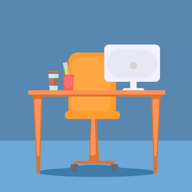 Ufficio con roba da tavolo, computer e ufficio. Vettore gratuito