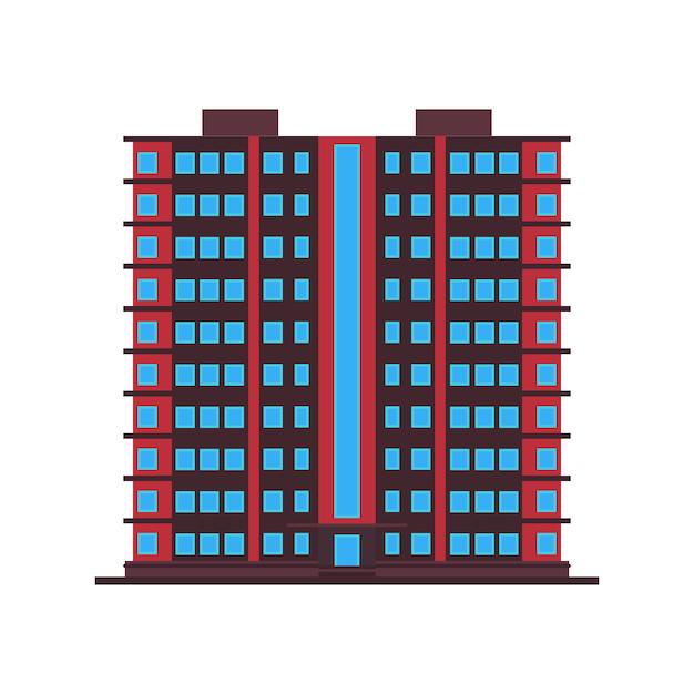 Ufficio di architettura dell'icona di affari della città della costruzione. costruzione urbana città immobiliare esterno. struttura del paesaggio urbano sullo skyline Vettore Premium