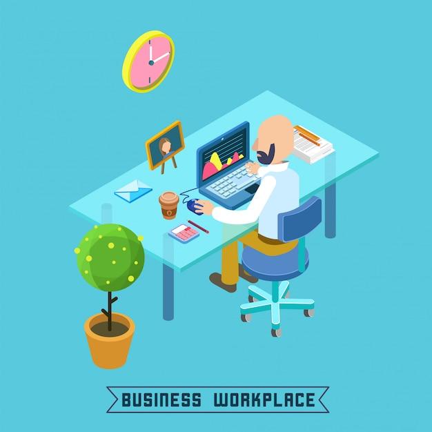 Ufficio isometrico moderno sul posto di lavoro Vettore Premium