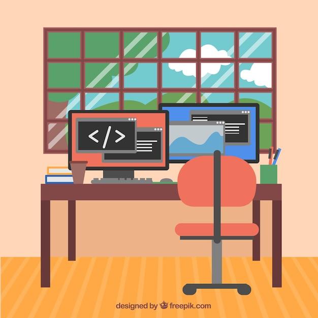 Ufficio moderno con computer e finestra scaricare vettori gratis - Uscire da finestra layout autocad ...