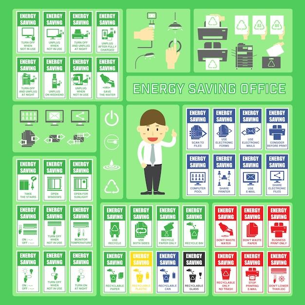 Ufficio Risparmio Energetico.Ufficio Per Il Risparmio Energetico Set Di Etichette E