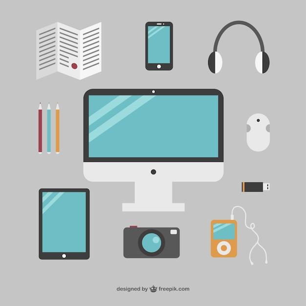 Ufficio semplice insieme di oggetti scaricare vettori gratis for Semplice creatore di piano gratuito