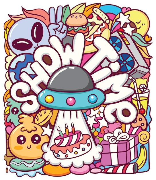 Ufo alieno carino con vari oggetti doodle arte Vettore Premium