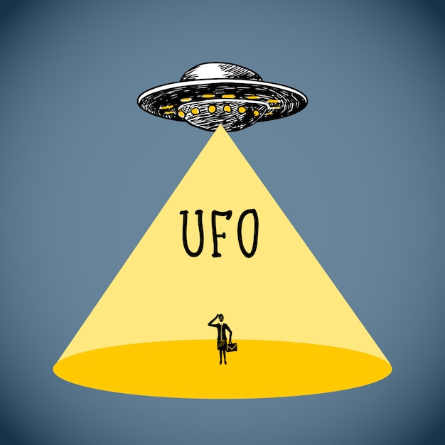 Ufo poster sketch Vettore gratuito