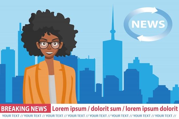 Ultime notizie con la conduttrice afroamericana Vettore Premium