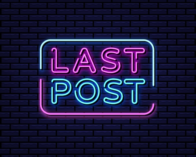 Ultimo post in stile neon Vettore Premium