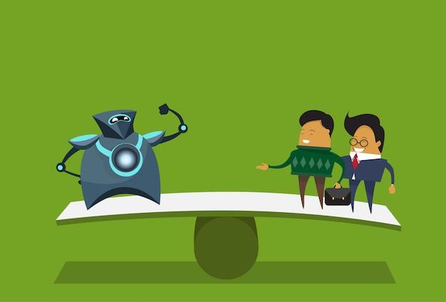 Umano contro robot moderni e uomini d'affari su sfondo verde concetto di intelligenza artificiale Vettore Premium