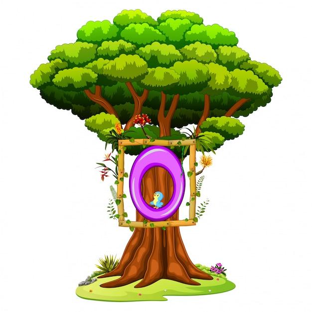 Un albero con una cifra numero zero su uno sfondo bianco Vettore Premium