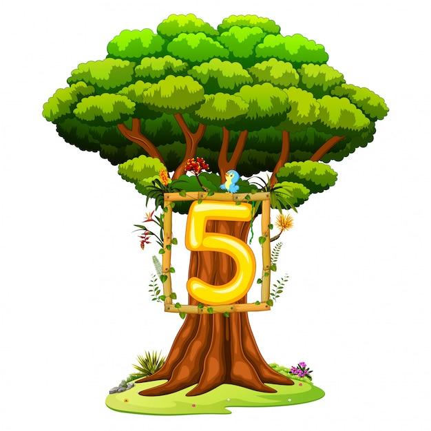 Un albero con una figura numero cinque su uno sfondo bianco Vettore Premium