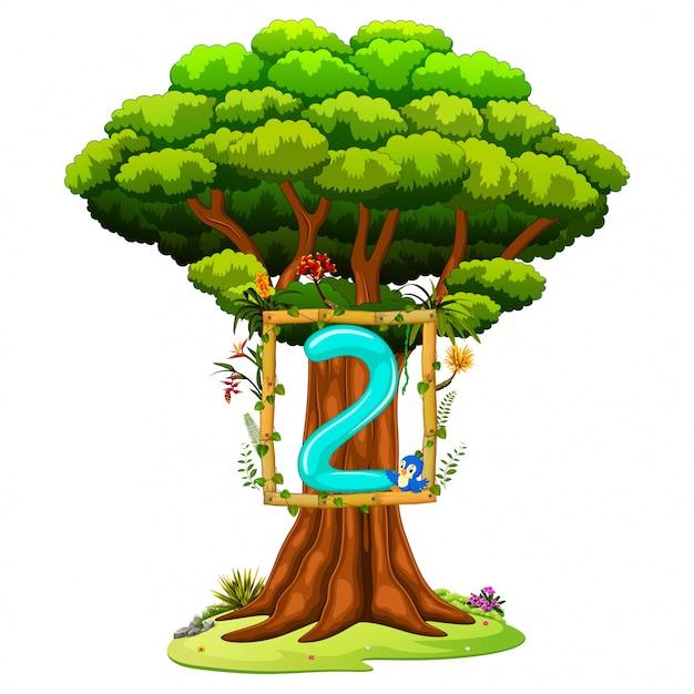 Un albero con una figura numero due su uno sfondo bianco Vettore Premium