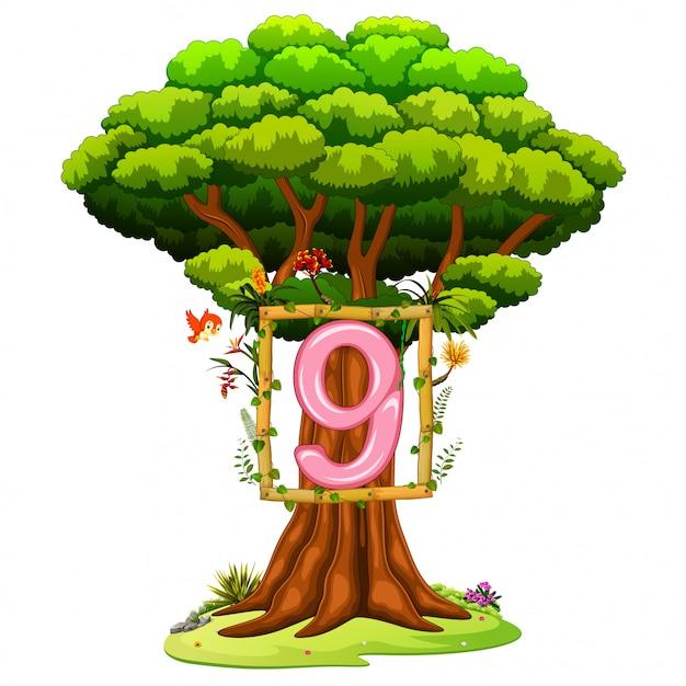 Un albero con una figura numero nove su uno sfondo bianco Vettore Premium